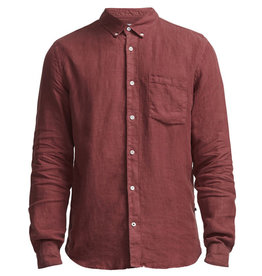 No Nationality New Derek Linen Shirt | Red Slate