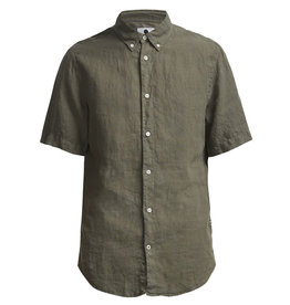 No Nationality New Derek Short Sleeve Linen Shirt | Army