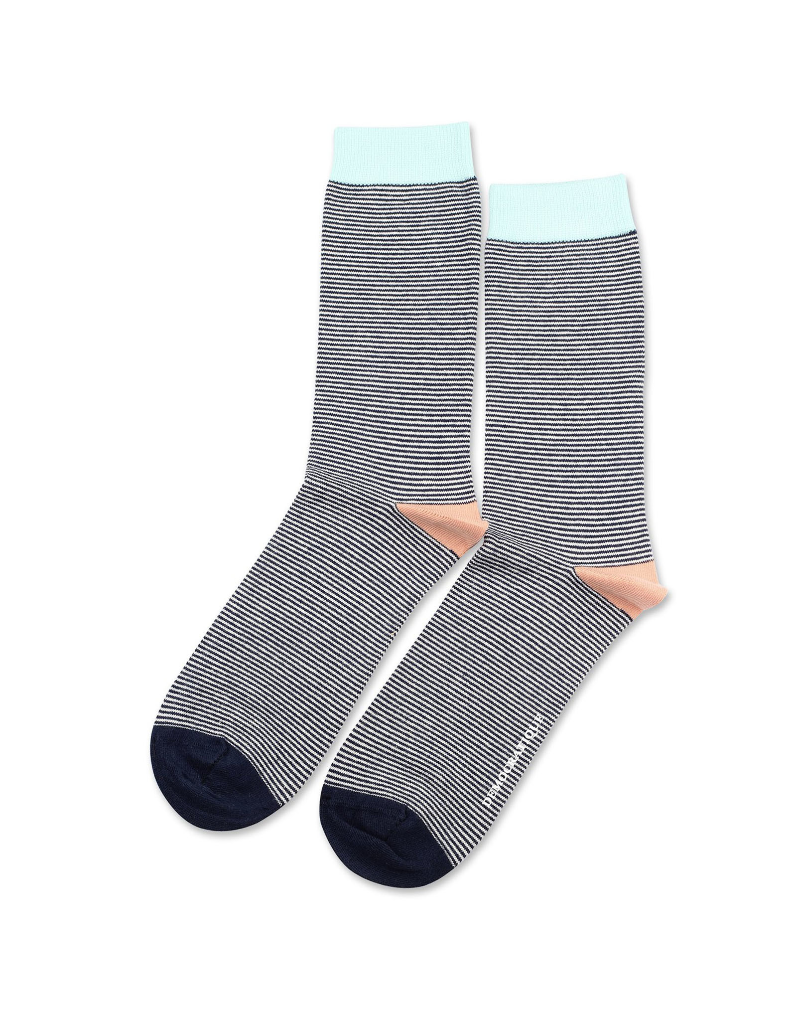 Democratique Ultralight Socks | Navy/Off-White/Salmon/Green