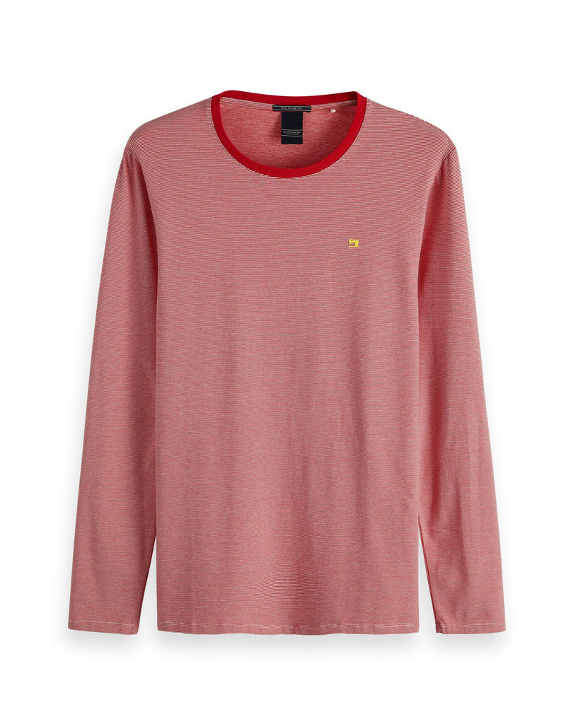 Scotch & Soda Striped Cotton / Elastane LS Tee | Red