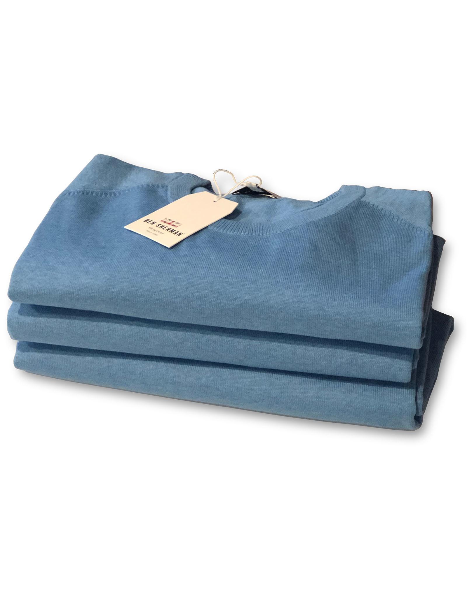Ben Sherman Cotton Crew Neck Knit   Jazzy Blue
