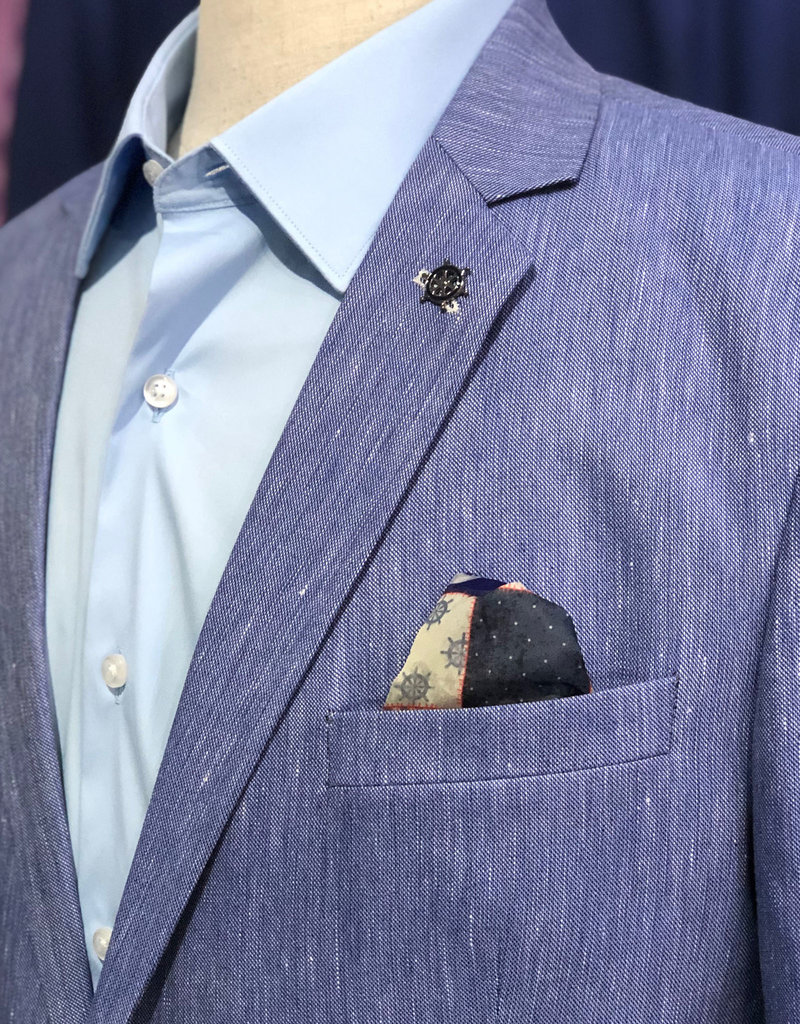 Thomson & Richards Light Blue Yarn Dyed Linen Blend Sports Jacket