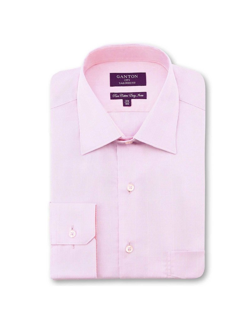 Ganton Taylor Check Dress Shirt | Pink