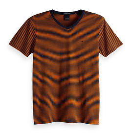 Scotch & Soda Classic Striped Cotton Elastane Crewneck | Burnt Orange