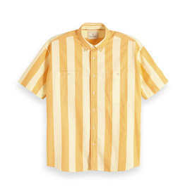 Scotch & Soda Short Sleeved Button Through Shirt  | Yellow White