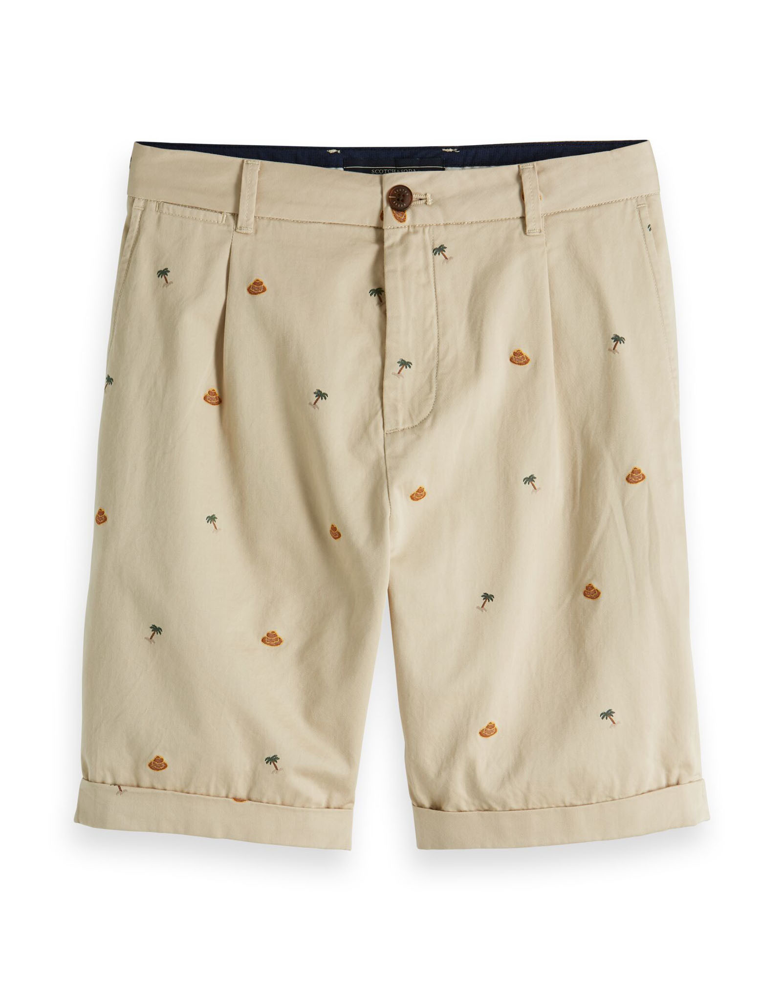 Scotch & Soda Pleated Cotton Printed Jacquard Shorts