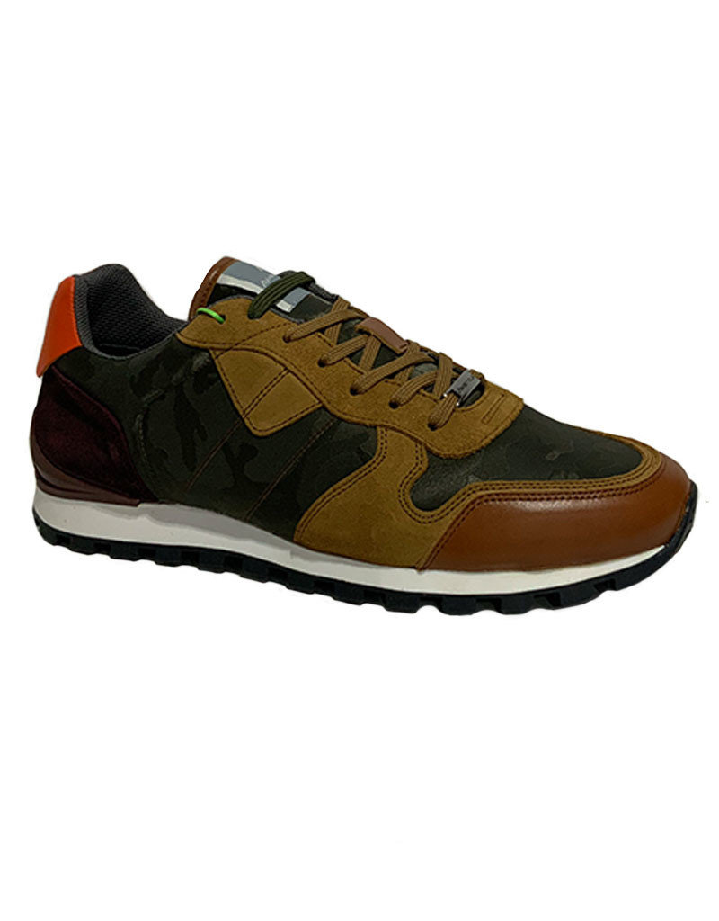 Ambitious Leather and Textile Casual Walking Shoe | Brown  / Camouflage
