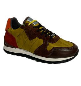 Ambitious Leather and Textile Casual Walking Shoe | Brown  / Mustard