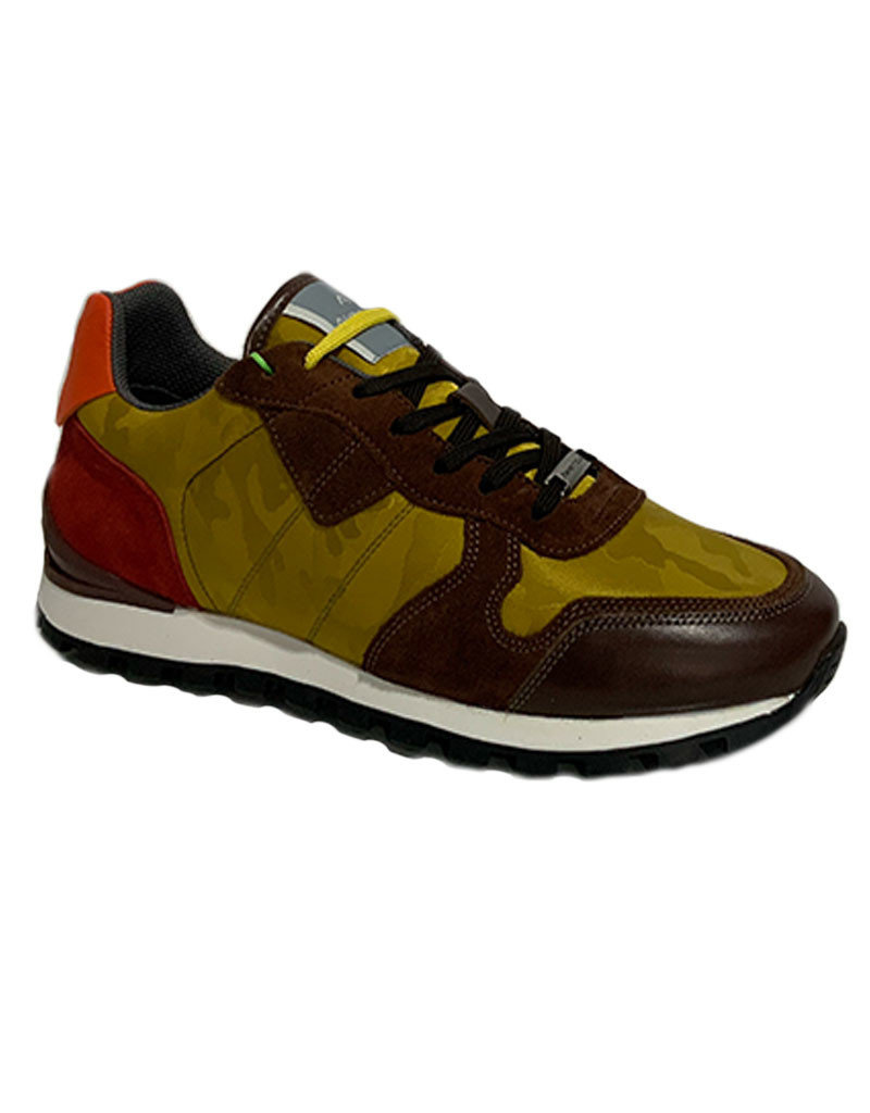 Ambitious Leather and Textile Casual Walking Shoe   Brown  / Mustard