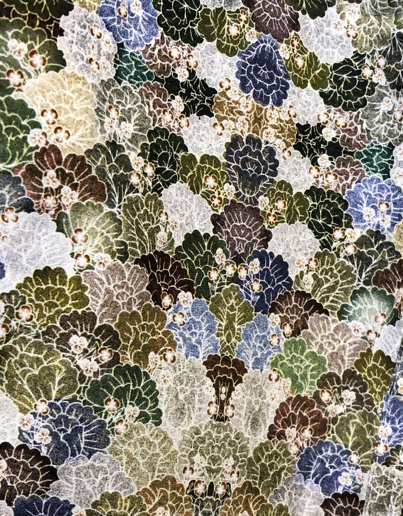 Cutler Earthtone Green Geo Floral