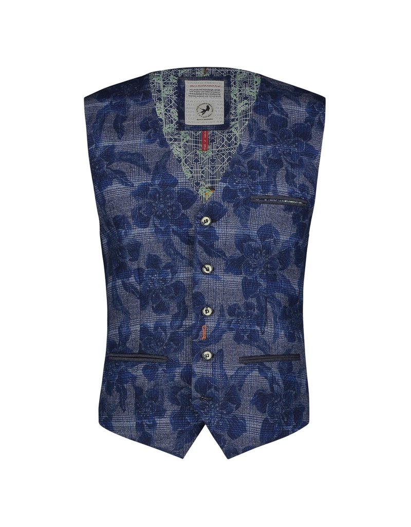 A Fish Named Fred Blue Flower Check Waistcoat