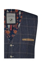 A Fish Named Fred Dark Blue Check Waistcoat