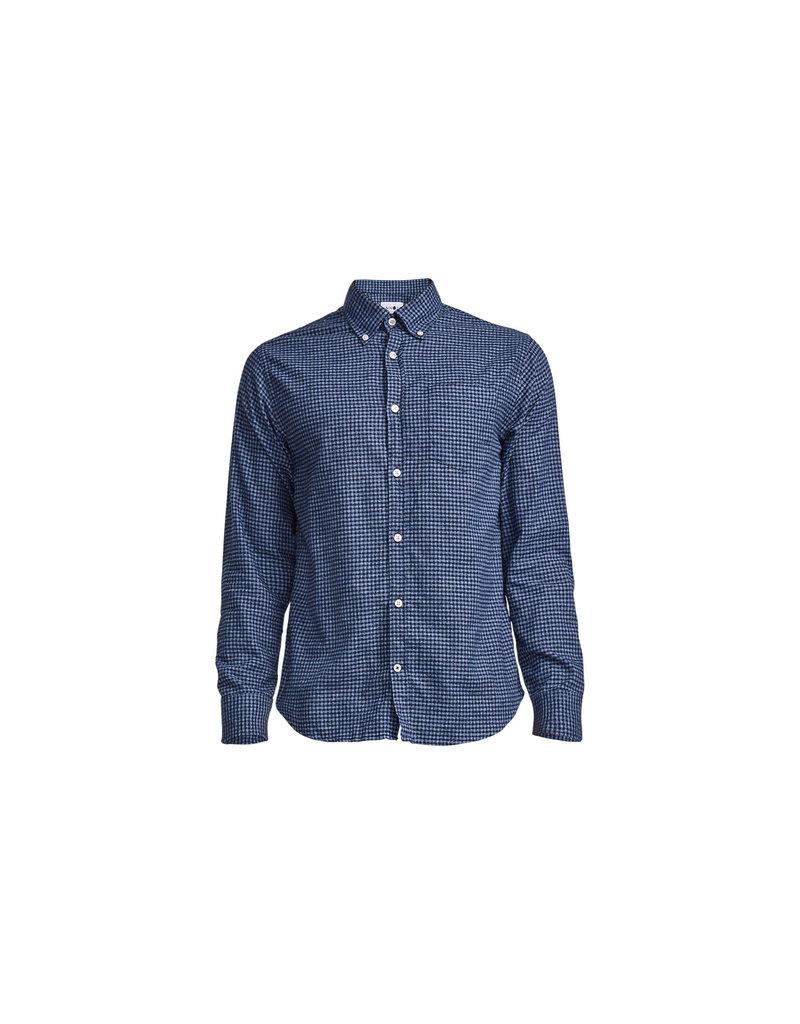 No Nationality Levon Cotton Long Sleeve Button Through Shirt | Blue Check