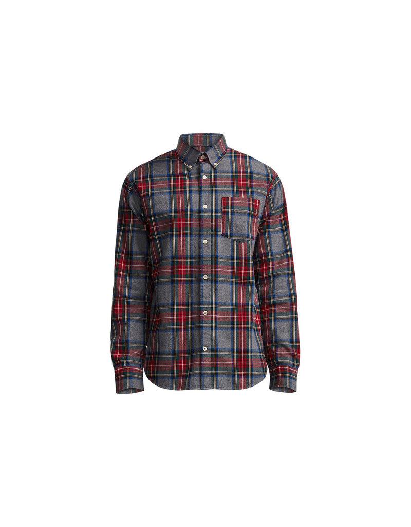 No Nationality Levon Cotton Long Sleeve Button Through Shirt   Grey Check