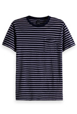 Scotch & Soda Ams Blauw Indigo Striped Tee | Navy Blue