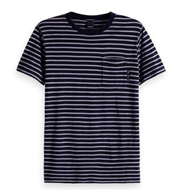 Scotch & Soda Ams Blauw Indigo Striped Tee | Navy Blue