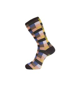 Fortis Green Check Pattern Sock in Brown