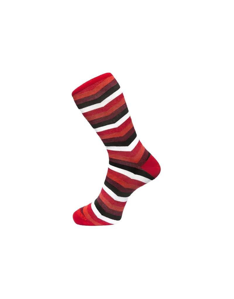 Fortis Green Chevron Stripe Pattern Sock In Red