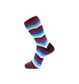 Fortis Green Chevron Stripe Pattern Sock In Burgundy