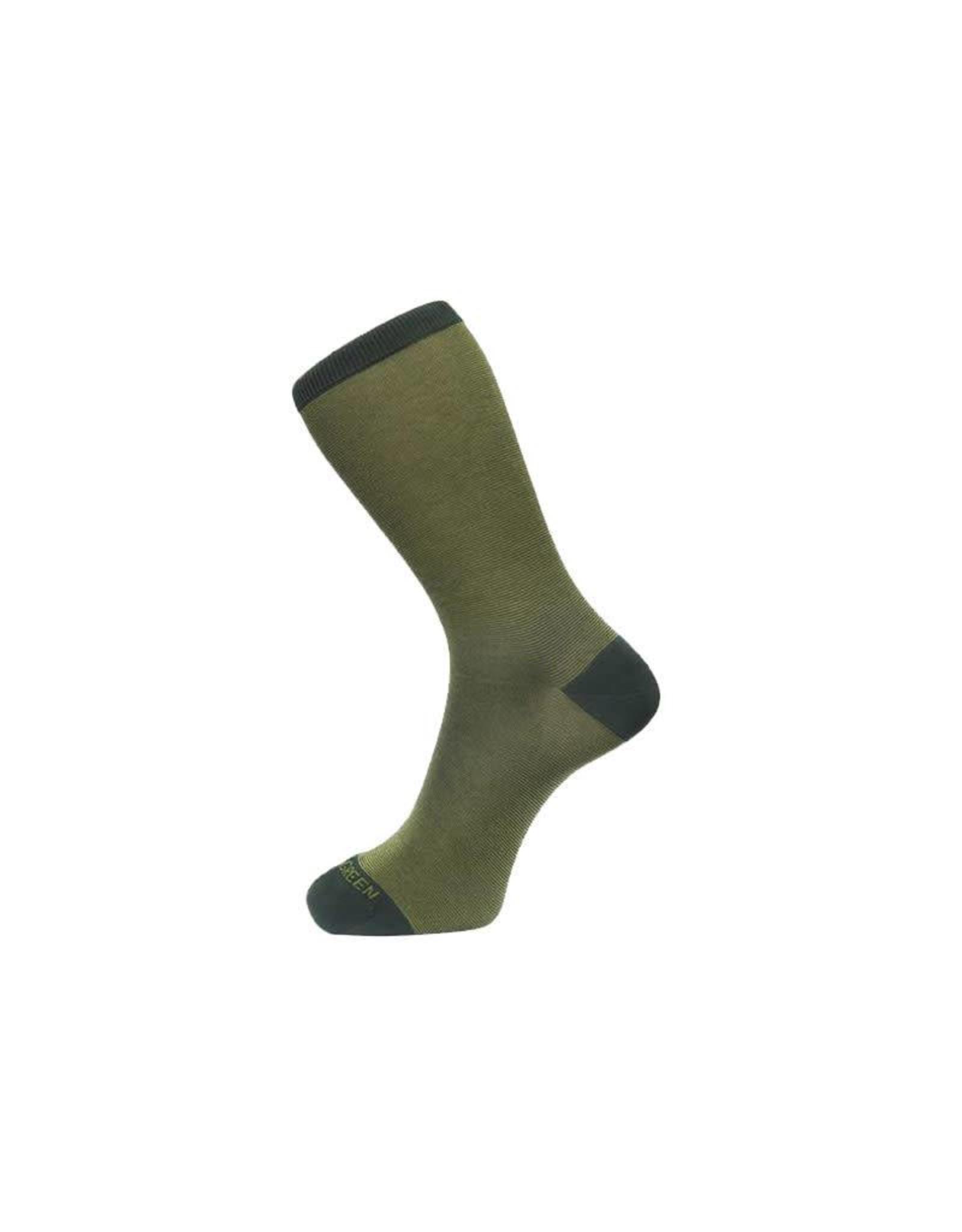 Fine Stripe Pattern Sock In Green