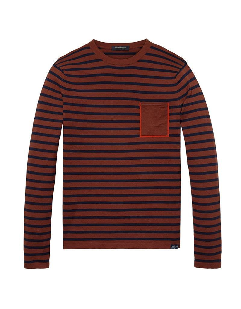Scotch & Soda Crewneck Pullover In Soft Cotton With Pocket | Blue/Red 139791-0218