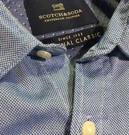 Scotch & Soda Button Through Shirt  | Blue With White 101436-0018