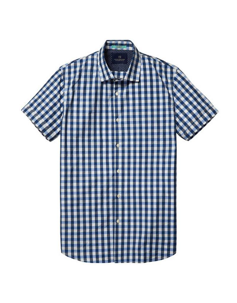Scotch & Soda Short Sleeved Button Through Shirt    Blue White 130740-D