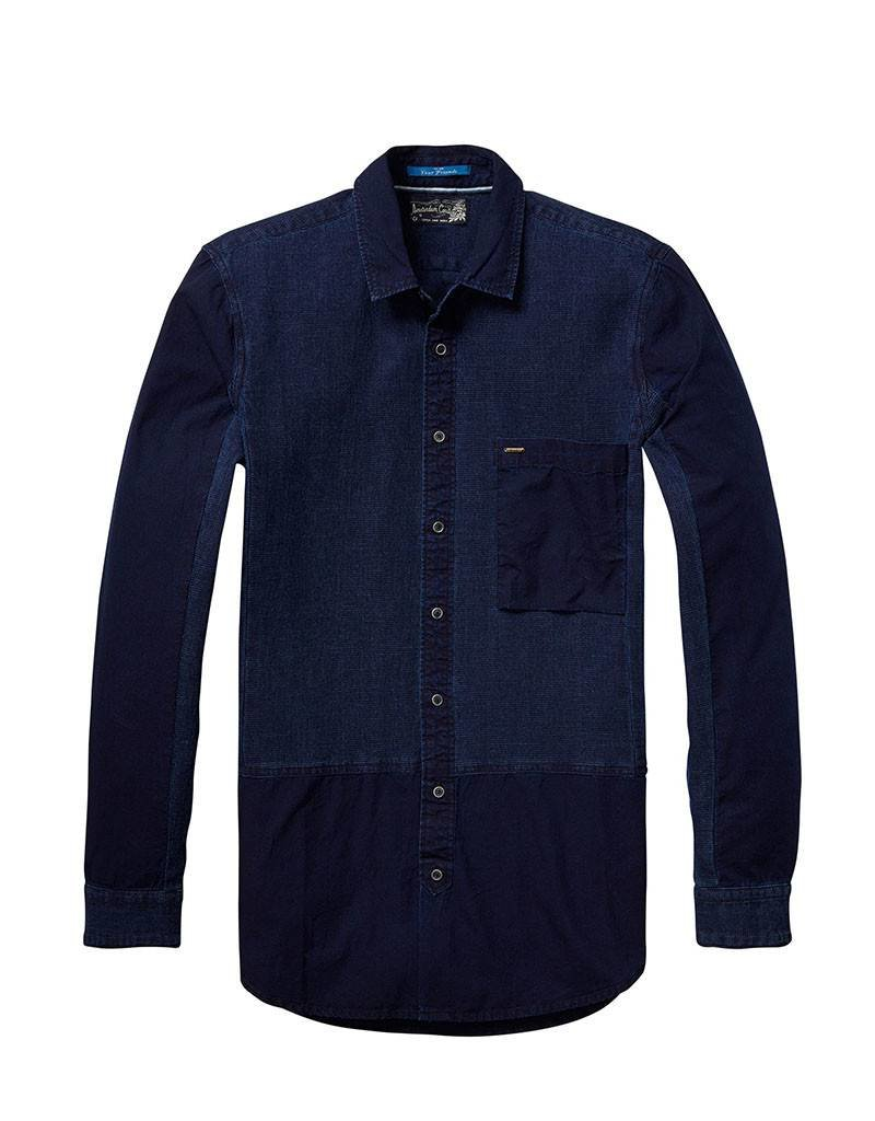 Scotch & Soda Indigo Engineered Button Through Shirt | Navy 136315-0089