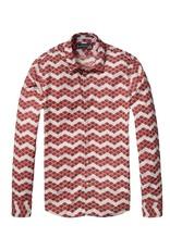 Scotch & Soda Printed Button Through Shirt  | Red / Pink Zig Zag 136346-0219