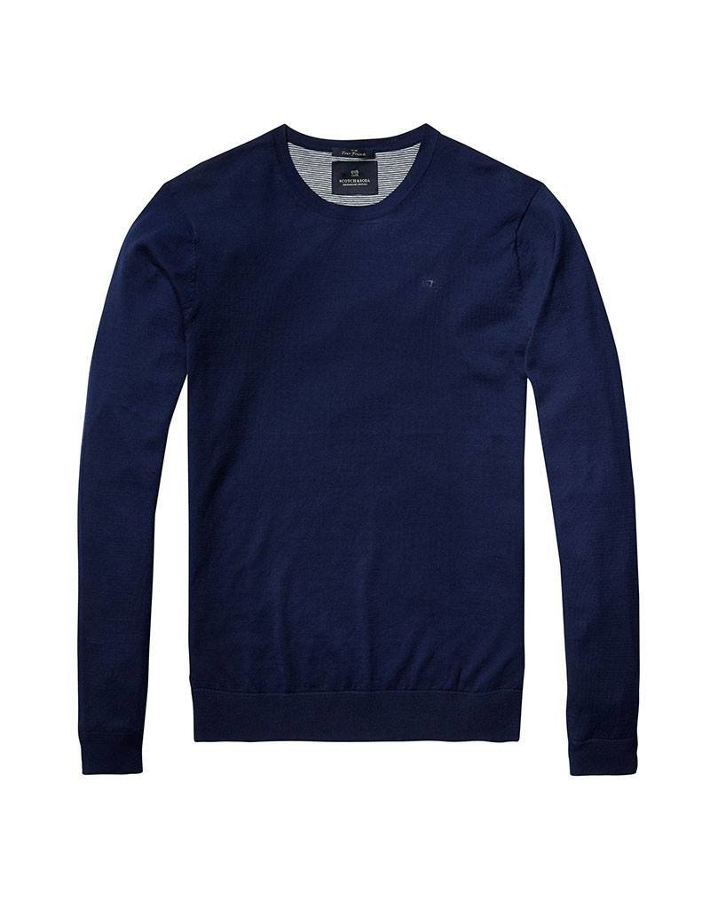 Scotch & Soda Crewneck Pullover In Soft Cotton With Pocket   Navy 136542-0004
