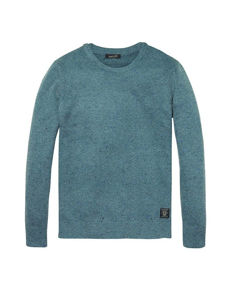 Scotch & Soda Pullover With Coloured Neps & Double Collar Detail | Velvet Blue Melange 139790-1708