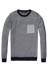 Scotch & Soda Striped Soft Cotton Crewneck Pullover With Pocket | Grey-Blue 136571-0217
