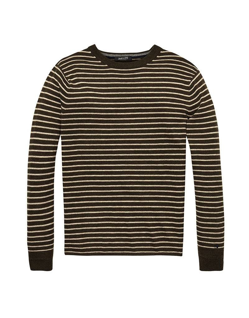 Scotch & Soda Pullover In Lambswool With Side Slits | Golden / Brown 139794-0217