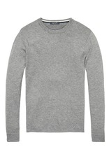 Scotch & Soda Pullover In Lambswool With Side Slits   Grey Melange 139794-0607