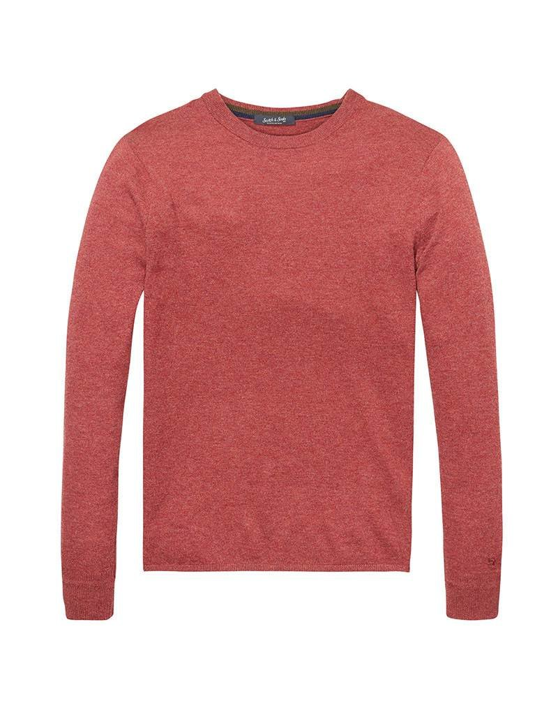 Scotch & Soda Pullover In Lambswool With Side Slits | Brick Melange 139794-0780