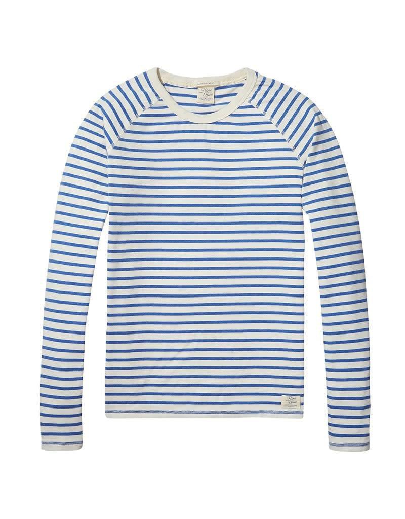 Scotch & Soda Home Alone Heavy Cotton Crewneck Pullover |White / Blue Striped 137736-17