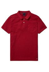 Scotch & Soda Garment Dyed Polo With XXX Pocket | Red 137773-1302