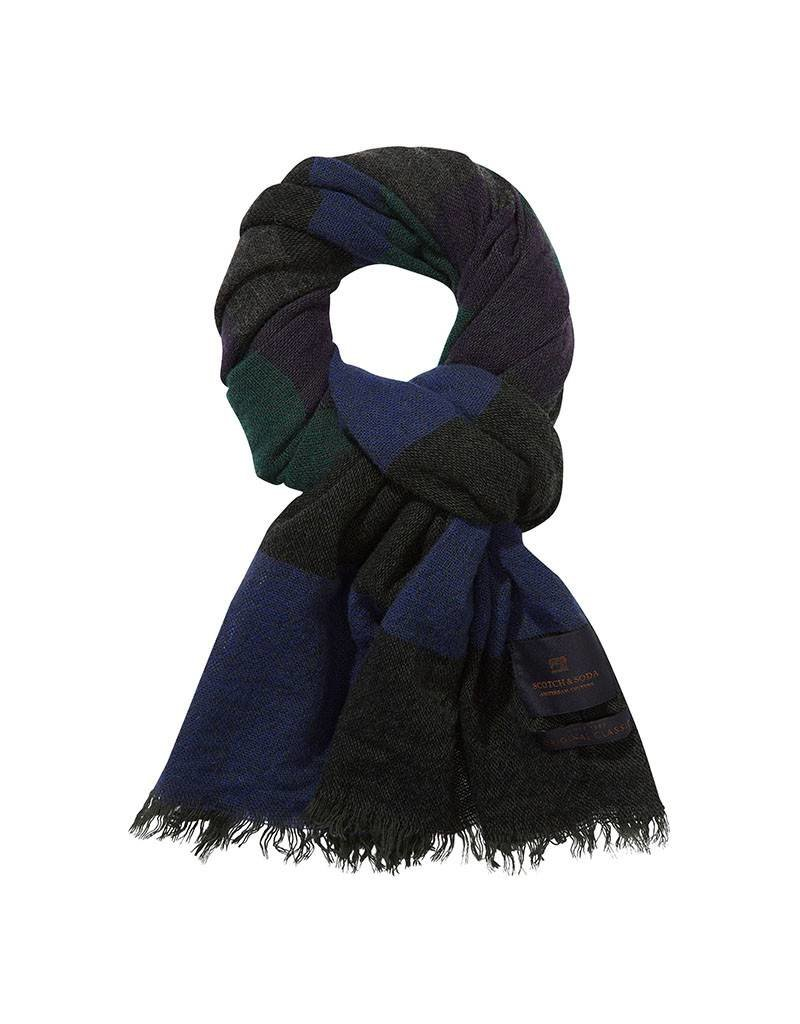 Scotch & Soda Scarf In Brushed Wool Blend   Navy / Green 139883-0217