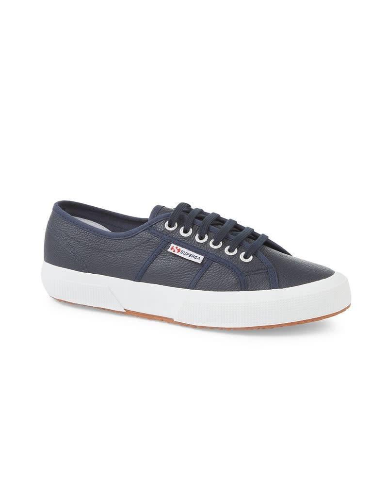 Superga 2750 Efglu Leather Sports Shoe   Navy