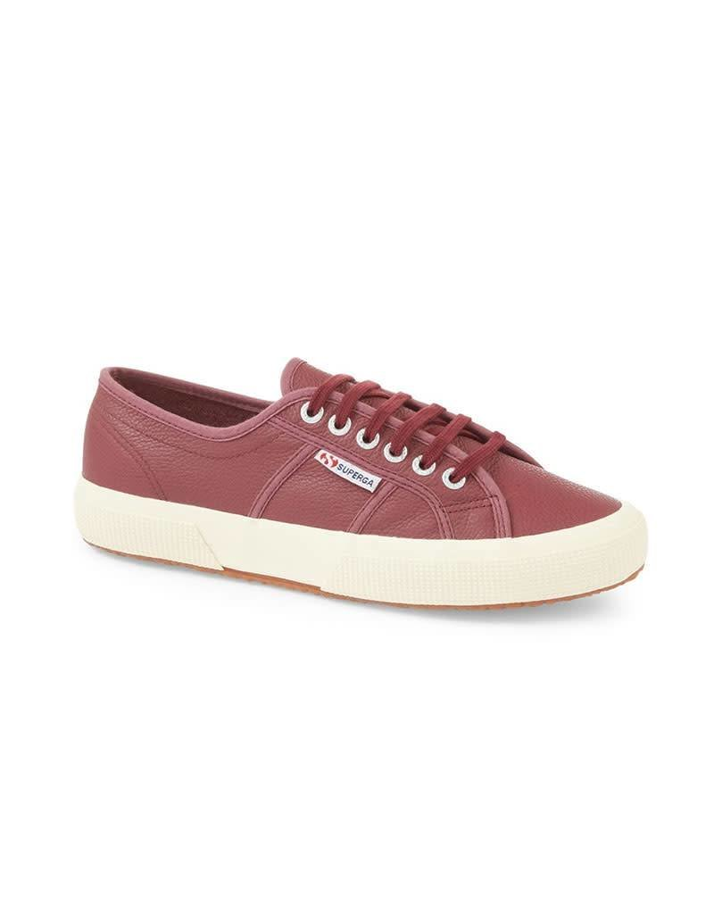 Superga 2750 Efglu Leather Sports Shoe   Oxblood