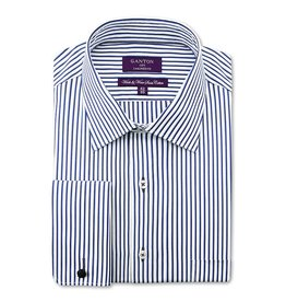 Ganton Striped Business Shirt - French Cuff | Navy