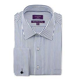 Ganton Striped Business Shirt - French Cuff | Navy