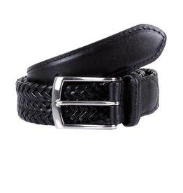 Dents Black Woven Leather Belt | 8-4031