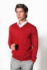 Fratelli Merino Wool Vee Neck - Italian Made | Red