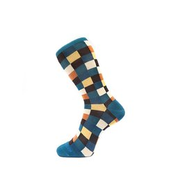 Fortis Green Check Pattern Sock in Teal