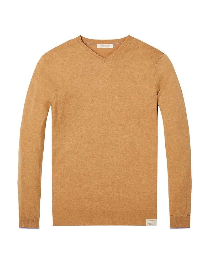 Scotch & Soda Classic V-neck Pull In Soft Cotton | Desert