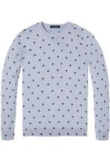 Scotch & Soda Melange Crewneck Pullover With All Over Pattern   Grey Chalk / Blue