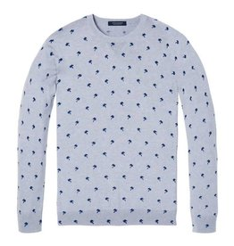 Scotch & Soda Melange Crewneck Pullover With All Over Pattern | Grey Chalk / Blue