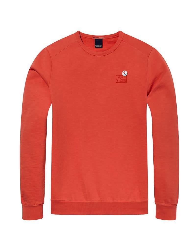 Scotch & Soda AMS Blauw | Garment Dyed Sweat With Chest Embroidery | Orange