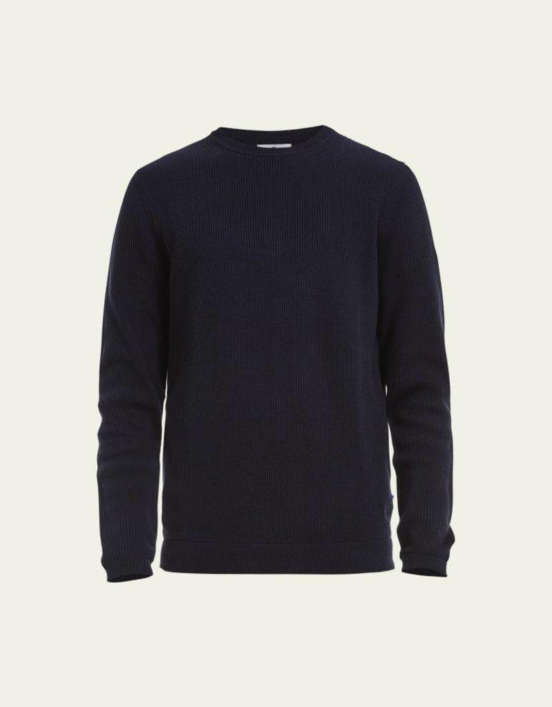 No Nationality Phil Ribbed Knit Cotton Jumper | Navy
